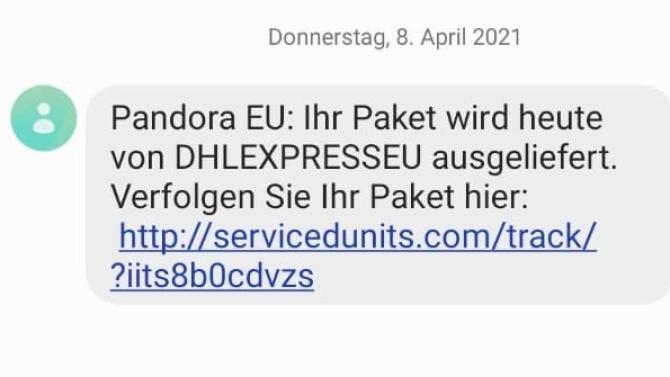 Fake-SMS mit Paketnachricht